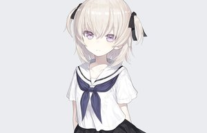 Rating: Safe Score: 92 Tags: capriccio gray gray_hair loli original purple_eyes ribbons school_uniform short_hair skirt third-party_edit twintails User: otaku_emmy