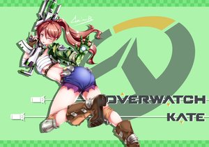 Rating: Safe Score: 28 Tags: aliasing ass boots breasts brown_eyes brown_hair original overwatch ponytail sarashi shorts signed tagme_(artist) underwear weapon wink User: BattlequeenYume
