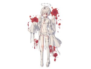 Rating: Safe Score: 57 Tags: albinoraccoon all_male angel bandage blood boots eyepatch gray_hair halo male navel original pointed_ears red_eyes white User: sadodere-chan