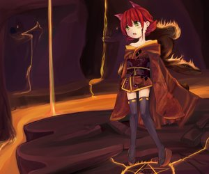 Rating: Safe Score: 105 Tags: animal_ears annie_hastur fire japanese_clothes league_of_legends magic pitui1996 red_hair short_hair teddy_bear thighhighs yellow_eyes User: Pitui1996