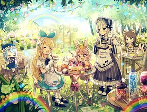 Rating: Safe Score: 48 Tags: alice_(wonderland) animal_ears bicolored_eyes blonde_hair blue_hair blush braids brown_hair bunny_ears bunnygirl cake cat_smile cherry chibi drink fang flowers food fruit gloves group hat headband instrument lolita_fashion long_hair original rainbow red_eyes sakura_oriko short_hair strawberry tree white_hair yellow_eyes User: otaku_emmy