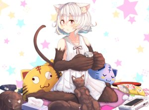 Rating: Safe Score: 51 Tags: animal blush candy cat catgirl drink food game_console original plan_(planhaplalan) red_eyes short_hair tail white_hair User: Flandre93