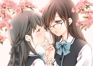 Rating: Safe Score: 30 Tags: 2girls black_hair bow braids brown_eyes brown_hair glasses long_hair original seifuku sheepd shoujo_ai User: RyuZU