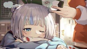 Rating: Safe Score: 39 Tags: 2girls blue_eyes blush book close gawr_gura gray_hair hololive sanada_keisui takanashi_kiara wink User: BattlequeenYume