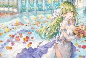 Rating: Safe Score: 113 Tags: blush braids dress flowers green_hair long_hair momoko_(momopoco) orange_eyes original rose water User: BattlequeenYume