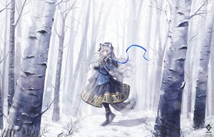 Rating: Safe Score: 52 Tags: a0lp animal_ears arknights bell braids catgirl forest gloves gray_hair long_hair pramanix_(arknights) ribbons tail tree watermark winter User: BattlequeenYume