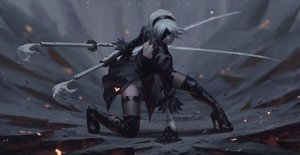 Rating: Safe Score: 33 Tags: boots guweiz katana nier nier:_automata realistic short_hair sword thighhighs weapon white_hair yorha_unit_no._2_type_b User: mattiasc02