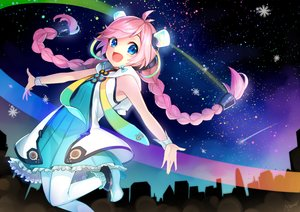 Rating: Safe Score: 15 Tags: blue_eyes braids dress long_hair night pantyhose pink_hair rana_(vocaloid) signed sky stars tagme_(artist) twintails vocaloid wristwear User: luckyluna