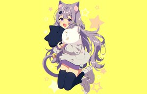 Rating: Safe Score: 43 Tags: animal_ears aylaah_mao bandaid bell blush catgirl fang hoodie long_hair mamyouda purple_eyes purple_hair signed stars tail thighhighs yellow zettai_ryouiki User: otaku_emmy