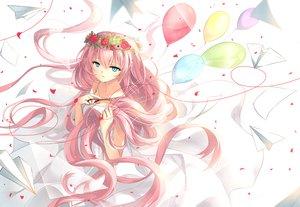 Rating: Safe Score: 103 Tags: aqua_eyes ceru dress flowers long_hair megurine_luka paper petals pink_hair vocaloid User: Flandre93