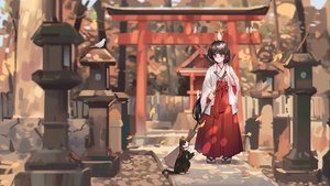 Rating: Safe Score: 41 Tags: alzi animal autumn bird black_hair brown_eyes cat forest japanese_clothes leaves long_hair miko original torii tree User: luckyluna