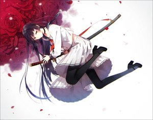 Rating: Safe Score: 134 Tags: black_hair choker flowers hakusai katana long_hair necklace original pantyhose petals red_eyes rose seifuku sword weapon User: otaku_emmy