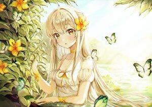 Rating: Safe Score: 62 Tags: blonde_hair butterfly choker flowers grass long_hair original ribbons ssum_(ehf_dustk) water wristwear yellow_eyes User: BattlequeenYume