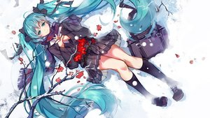 Rating: Safe Score: 74 Tags: aqua_eyes aqua_hair haraguroi_you hatsune_miku kneehighs long_hair petals scarf seifuku skirt snow twintails vocaloid User: RyuZU