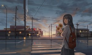 Rating: Safe Score: 34 Tags: black_eyes black_hair building city clouds flowers kitsu+3 long_hair original skirt sky sunflower sunset User: RyuZU