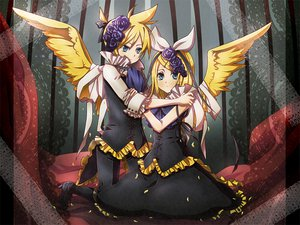 Rating: Safe Score: 20 Tags: aliasing angel blonde_hair blue_eyes blush cage dress kagamine_len kagamine_rin male short_hair vocaloid wings User: Tensa