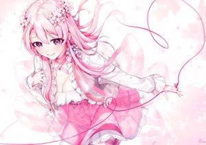 Rating: Safe Score: 58 Tags: aliasing blush breasts cleavage dress flowers fuu_kotora long_hair original pink_hair polychromatic purple_eyes User: BattlequeenYume