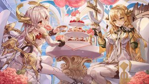 Rating: Safe Score: 34 Tags: 2girls alchemy_stars blonde_hair dress drink flowers food fruit gray_hair headdress lujang_(fudge) red_eyes sky strawberry tagme_(character) uriel_(alchemy_stars) wings yellow_eyes User: BattlequeenYume