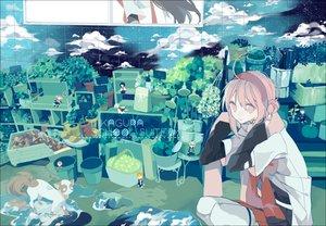 Rating: Safe Score: 43 Tags: akina422 animal cat clouds headband leaves mikagura_gakuen_kumikyoku pink_eyes pink_hair User: Flandre93