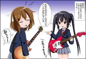Rating: Safe Score: 12 Tags: 2girls black_hair brown_eyes brown_hair fai guitar hirasawa_yui instrument k-on! long_hair nakano_azusa school_uniform short_hair skirt twintails User: Kumacuda