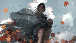 Rating: Safe Score: 92 Tags: autumn black_hair clouds dress ghostblade leaves pointed_ears realistic reflection sky tagme_(character) water wlop User: BattlequeenYume