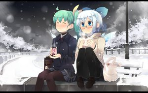 Rating: Safe Score: 95 Tags: 2girls aqua_hair blue_eyes blue_hair blush bow cirno daiyousei drink fairy food glasses newhonpo pantyhose ponytail short_hair skirt snow touhou wings winter User: Cade