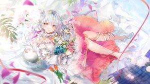 Rating: Safe Score: 59 Tags: aliasing cage dress flowers gray_hair nekojita_(ika_neko46) original petals ribbons signed User: RyuZU