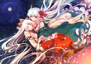 Rating: Safe Score: 169 Tags: 2girls bow dress fujiwara_no_mokou horns kamishirasawa_keine long_hair moon red_eyes skirt sleeping touhou white_hair yetworldview_kaze User: RyuZU