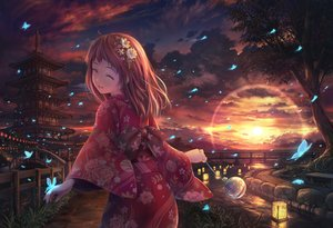 Rating: Safe Score: 86 Tags: animal brown_hair building butterfly clouds grass japanese_clothes kimono long_hair original sky soraizumi sunset tree water User: BattlequeenYume