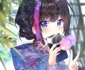 Rating: Safe Score: 73 Tags: aqua_eyes black_hair blush braids camera close cropped hoodie original phone short_hair urim_(paintur) waifu2x User: otaku_emmy