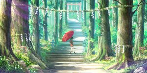 Rating: Safe Score: 87 Tags: black_hair cropped forest landscape original pigsomedom rope scenic school_uniform short_hair skirt stairs torii tree umbrella User: Nepcoheart