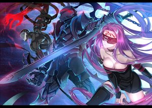 Rating: Safe Score: 55 Tags: armor blindfold breasts cleavage dress fate_(series) fate/stay_night hundred-faced_hassan lancelot_(fate) long_hair male purple_hair rider sword tattoo thighhighs weapon ycco_(estrella) zettai_ryouiki User: RyuZU