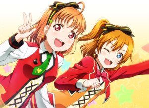 Rating: Safe Score: 30 Tags: 2girls anibache aqua_eyes blush bow brown_hair headband kousaka_honoka love_live!_school_idol_project love_live!_sunshine!! red_eyes short_hair takami_chika tie wink User: RyuZU