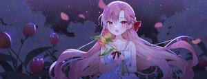Rating: Safe Score: 42 Tags: blush braids cheli_(kso1564) clouds flowers long_hair night purple_hair sky stars yun_rijeu User: BattlequeenYume