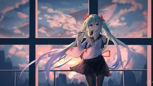 Rating: Safe Score: 98 Tags: clouds flute hatsune_miku instrument pantyhose school_uniform signed sky sunset twintails user_cxmk7438 vocaloid User: Dreista