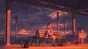 Rating: Safe Score: 34 Tags: animal cat clouds feel_(nasitaki) kneehighs loli original scenic school_uniform short_hair sky sunset User: FormX