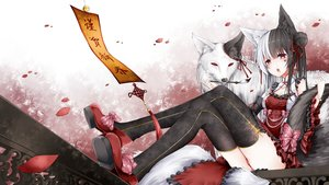 Rating: Safe Score: 35 Tags: alice_mana alice_mana_channel animal animal_ears anotoki_ashi black_hair long_hair multiple_tails red_eyes tail thighhighs white_hair wolf User: BattlequeenYume