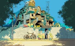 Rating: Safe Score: 84 Tags: animal bicycle building cat kudamono790 original polychromatic tree User: Dummy
