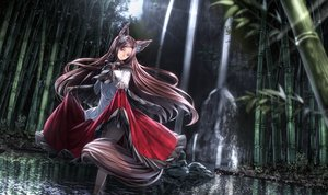 Rating: Safe Score: 178 Tags: aliasing animal_ears brown_hair dress forest imaizumi_kagerou long_hair red_eyes ryosios skirt_lift tail touhou tree water waterfall wolfgirl User: Flandre93