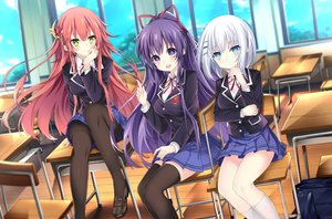 Rating: Safe Score: 69 Tags: blush clouds date_a_live jianren kneehighs long_hair pantyhose school_uniform skirt sky tagme_(character) tobiichi_origami yatogami_tohka User: BattlequeenYume