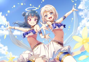Rating: Safe Score: 57 Tags: 2girls blue_eyes blue_hair clouds deadnooodles flowers garter gray_hair halo headdress long_hair love_live!_school_idol_project love_live!_sunshine!! navel purple_eyes see_through short_hair skirt sky tsushima_yoshiko watanabe_you water wristwear User: otaku_emmy
