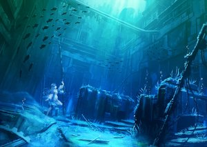 Rating: Safe Score: 82 Tags: animal blue bubbles city fish long_hair original rapt_(47256) ruins scenic underwater water User: mattiasc02
