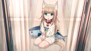 Rating: Safe Score: 71 Tags: 40hara animal_ears brown_hair catgirl choker fang green_eyes kinako_(40hara) loli original rain third-party_edit waifu2x water User: gnarf1975