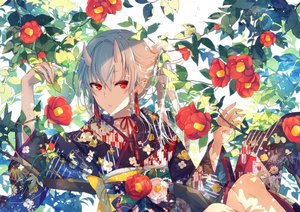 Rating: Safe Score: 53 Tags: aliasing demon flowers goma_(11zihisin) gray_hair horns japanese_clothes kimono leaves long_hair original red_eyes User: sadodere-chan