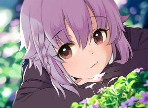 Rating: Safe Score: 47 Tags: blush braids brown_eyes close flowers idolmaster idolmaster_cinderella_girls kirarin369 koshimizu_sachiko purple_hair short_hair User: RyuZU