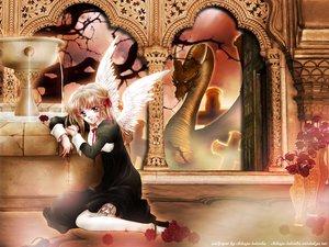 Rating: Safe Score: 18 Tags: angel black_eyes blonde_hair blood cross dragon dress flowers nun ribbons tree water wings User: Oyashiro-sama