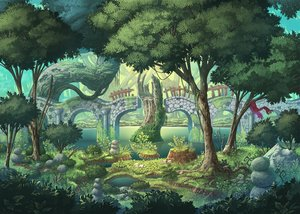 Rating: Safe Score: 34 Tags: forest grass nagi_itsuki nobody original scarf scenic tree water User: otaku_emmy