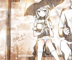 Rating: Safe Score: 144 Tags: boyogo braids kantai_collection kneehighs monochrome rain sei shigure_(kancolle) signed sketch umbrella water User: vf.nightcore