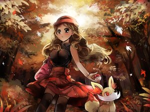 Rating: Safe Score: 125 Tags: autumn black_eyes blonde_hair blush fennekin forest hat leaves long_hair pokemon revanche serena_(pokemon) skirt thighhighs tree User: FormX