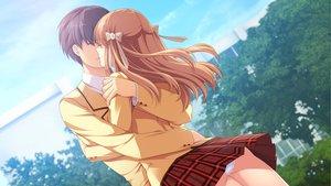 Rating: Safe Score: 75 Tags: brown_hair game_cg hatsukoi_1/1 hug katagiri_yuuma long_hair male morino_yukino panties school_uniform skirt underwear upskirt User: Maboroshi